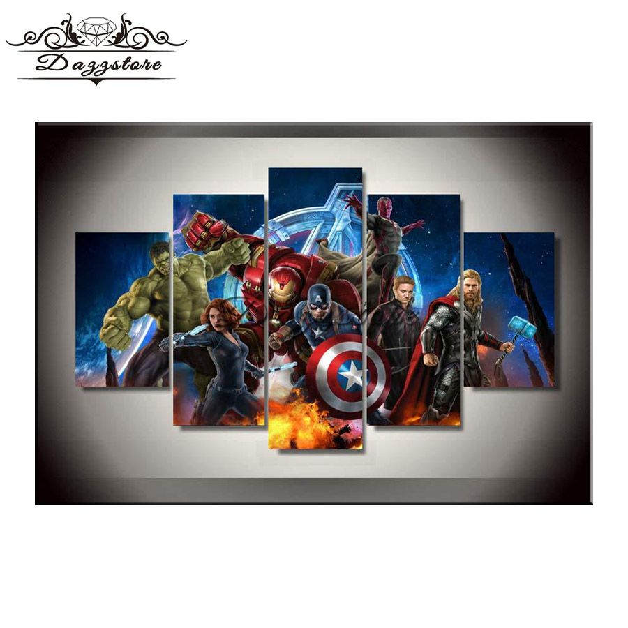 5PCS 5D Diy Diamond Painting Cross Stitch Diamond Embroidery Rhinestone Mosaic Painting Home Decor Gifts Avengers