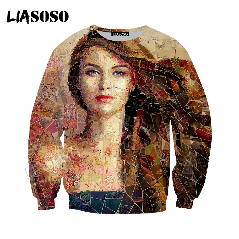 LIASOSO new inlaid art Hat coat neutral casual pullover long-sleeved mosaic 3D printing contrast color sweatshirt CX011