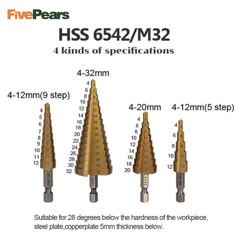 FivePears Hole Cutter High Speed Pagoda Shape Step Drill Bit Set Wood Metal  Center Drilling Tool