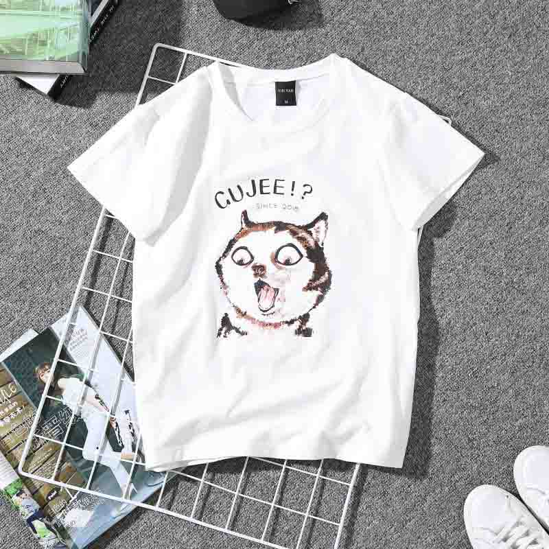 Fashion Kitten Pattern Print Tshirt Women O Neck Short Sleeve Summer Loose T Shirt Casual Wild Black White Plus Size t shirt in T Shirts from Women 39 s Clothing