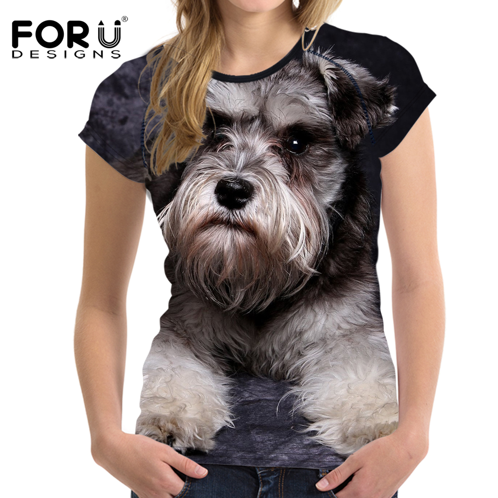 FORUDESIGNS Cute 3D Schnauzer Women T Shirt Tees Woman Tops O Neck Elastic Ladies Basic Shirt For Girl Female T-shirt Size S-XXL