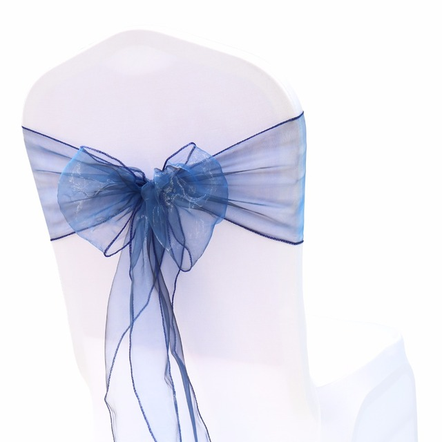100PCS Organza Fabric Ribbon Chair Sashes For Wedding Party Banquet Event Birthday Party Decoration Home Textile Chair Cover