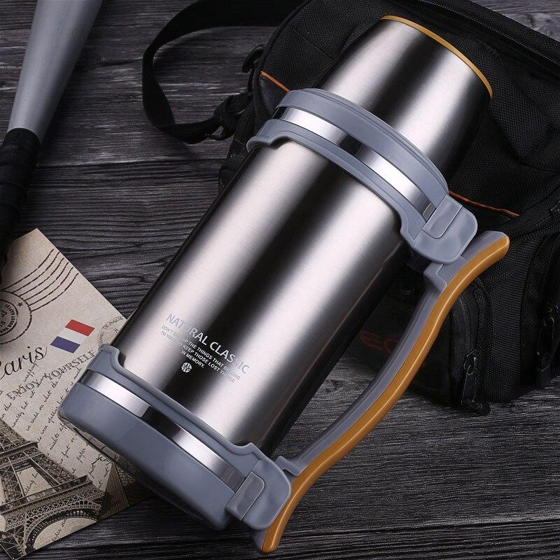 Frascos de Vácuo de grande Capacidade 2L/2.8L Isolado Chaleira Chaleira garrafa de Água de Viagem Pote de Café Garrafa Térmica de Aço Inoxidável Ao Ar Livre Copo Hikin