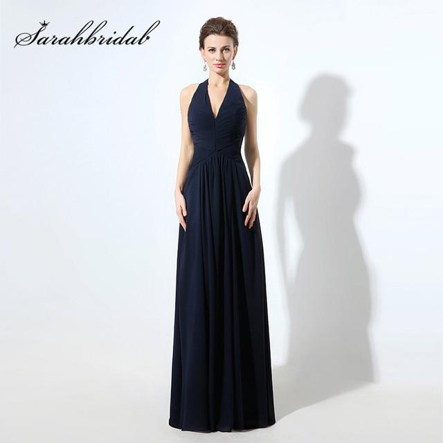 Cheap Halter Azul Marinho Longo Da Dama de honra Vestidos de Chiffon  Plissado Com Decote Em beadf850744a