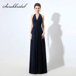 Дешевые Холтер Темно-синие длинные Подружкам невесты шифон Pleat Sexy v-образным вырезом спинки Свадебная вечеринка платья Для женщин Гала