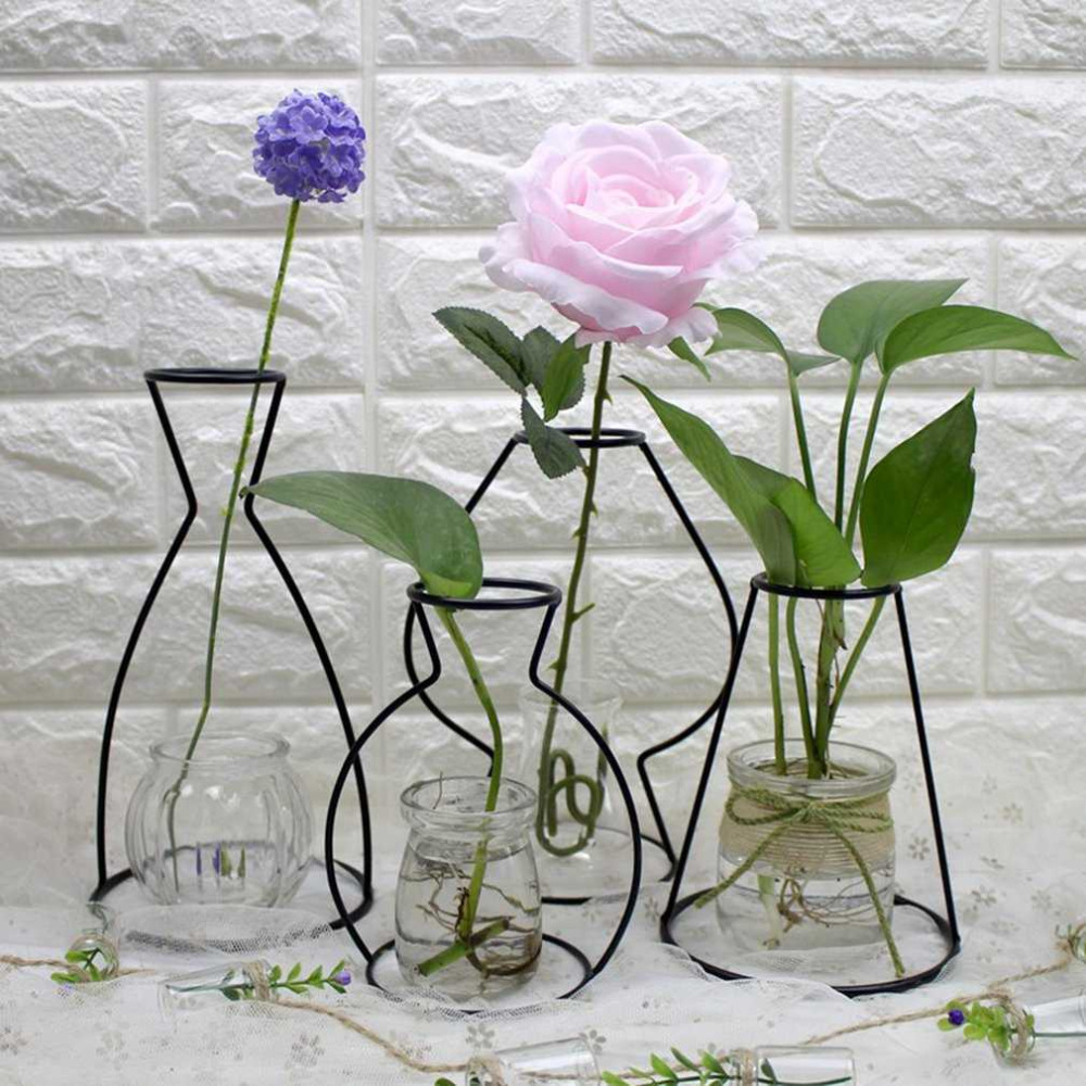 4 Shapes Black Iron Shelving Glass Vase Flower Ornaments Plant Flower Iron Vase Simple Diverse Vases Elegant Home Decor