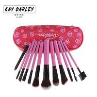 KAY GARLEY 12 sztuk Makeup Muśnięcie ustawia Przenośne Wzrosła Wydrukować Makijaż Brush Case Torba Blush Powder Foundation Brush makijaż Narzędzia zestawy