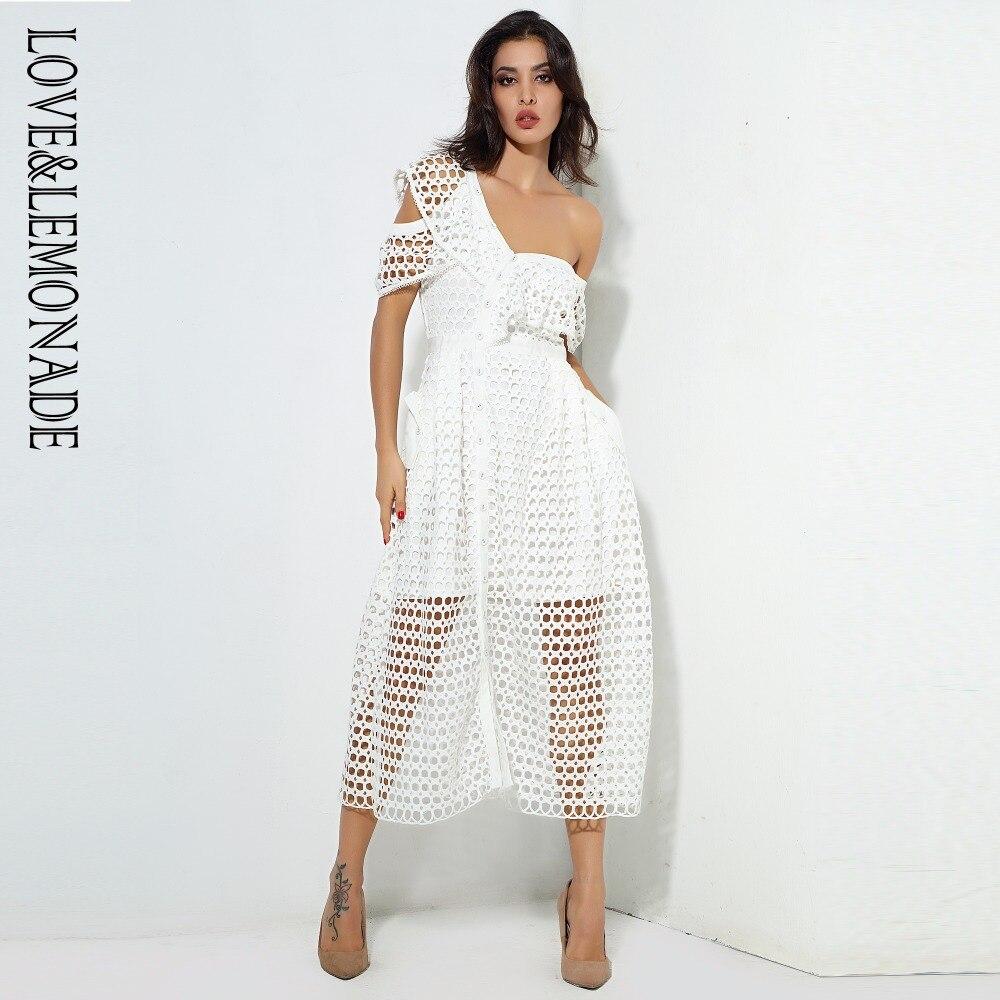 LOVE & LEMONADE  White Round Lace Single Shoulder Lotus Leaf Type A Dress  LM0560