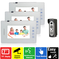 7 inch touch key video door phone intercom system doorphone doorbell wired video phone 700TVL COMS Camera