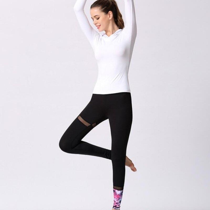 2019 Nouvelle à manches longues Sweat À Capuche Sport Top Jambières 2 pièces Yoga Réglé Femmes Gym Formation vêtements Survêtement Dames Slim Fit Ensembles