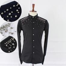 2015 NEW fashion casual Handmade rivet paillette slim long-sleeve shirt dress personalized singer costumes nightclub clothing