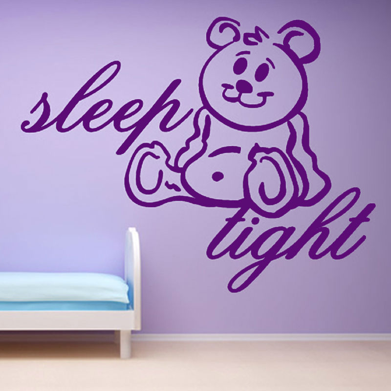 Sleep Tight Teddy Bear Wall Sticker Cartoon Girls Bedroom Decorative Vinyl Animal Wall D ...
