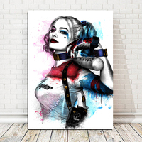 Harley Quinn Art paintings WATERCOLOR canvas Fabric Poster painting movie posters