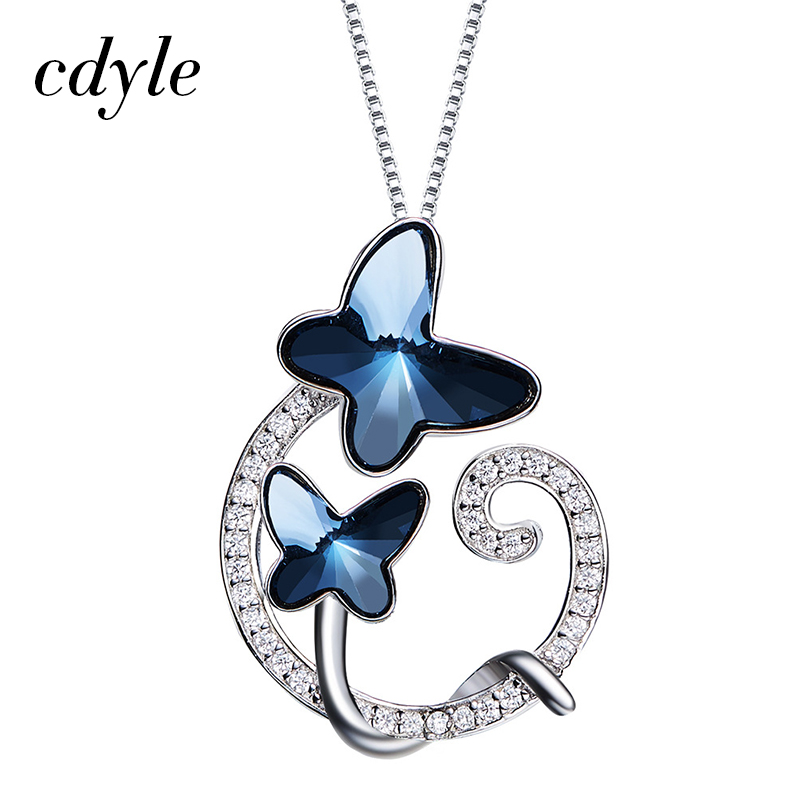 цена на Cdyle hollow heart Necklace Butterfly Crystals from Swarovski S925 Sterling Silver Women Pendants Blue Bijous Rhinestone Jewelry