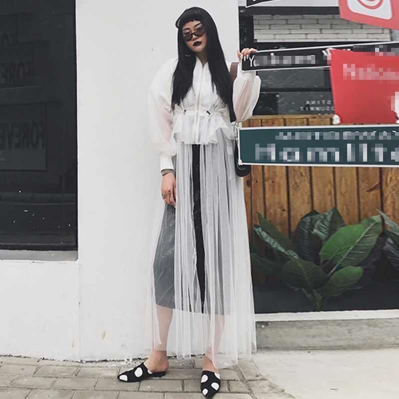TWOTWINSTYLE Сетчатое длинное платье для женщин в стиле пэчворк, воротник-стойка Фонари рукав с затягивающими шнурками Высокая Талия Элегантные платья 2019 Весенняя Новинка