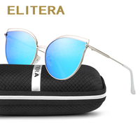 ELITERA New Cat Eye Sunglasses Women Brand Designer Retro Mirror Polarized Cateye Sun Glasses For Ladies