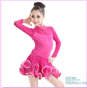 Black Red Pink Blue Yellow New 105-165cm rumba latin dance dress tango samba competition professional girl child dress costume