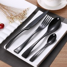 24PCS Stainless Steel Cutlery Set Black Flatware Sets Gift Mirror Polishing Silverware Sets Dinner Spoon Knife and Fork Set