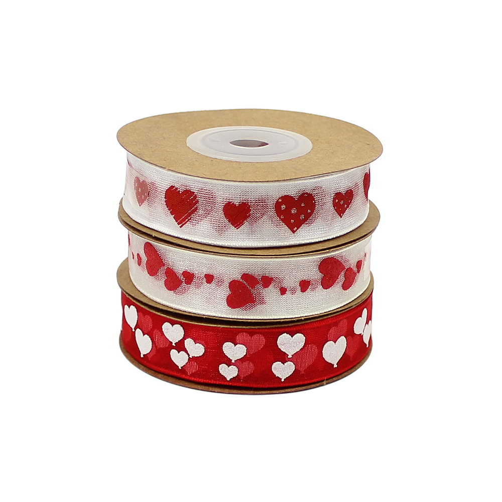 10m//roll 10mm Christma Organza Ribbon Printed Tape for DIY Gift Wrapping DecorLS