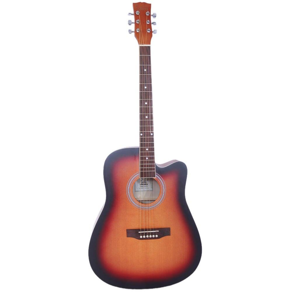 Glarry GT502 41 pouces épicéa avant coupe guitare Folk avec sac et planche et clé outil couleur coucher de soleil