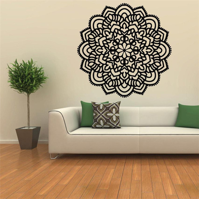 Black White Mandala Flower Decal Wall Stickers Paper Sticking Poster Indian Fl Bedroom Decor