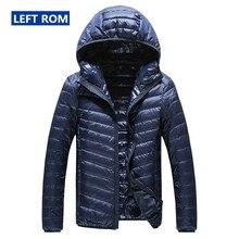 2019 남성을위한 새로운 하이 엔드 따뜻한 패션 깃털 후드 다운 재킷 순수 컬러 부티크 망 깃털 다운 코트 얇은 라이트 자켓