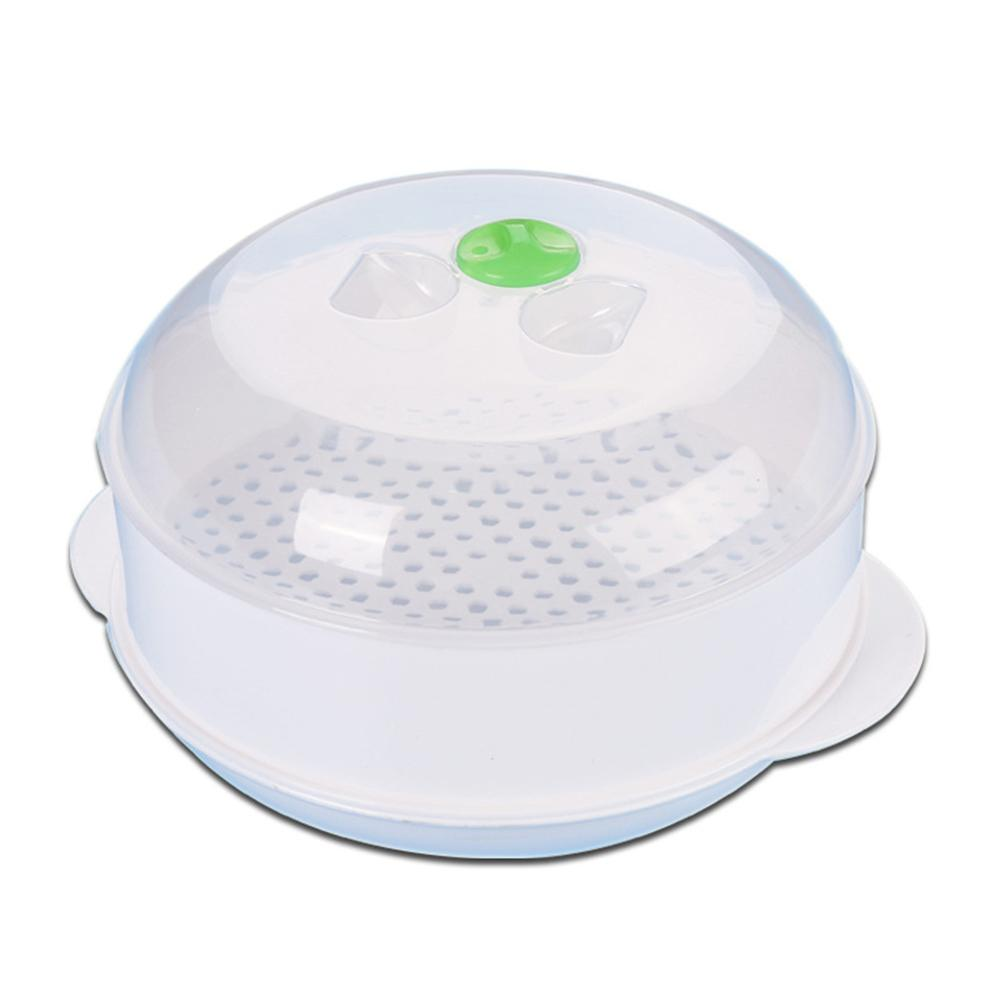 Portable Single-Layer Microwave Oven Steamer Plastic Round Steamer Microwave Steamer With Lid Cooking Tool 21.5*18.2*12cm