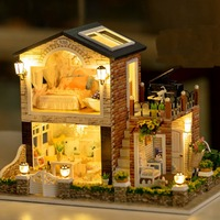 1/24 DIY Miniatura Wooden Handmade Irish Country House With LED+Furniture Dollhouse Kits BesT Gift For Children Girls
