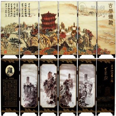 MINI Folding Screens 6 Joined Panels Decorative Painting Wood Byobu Great Wall China Scenery Landscape 5 Pattern