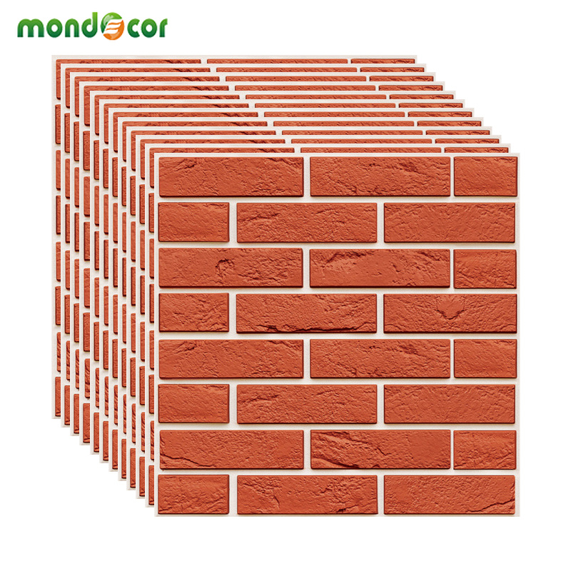 Self Adhesive Waterproof Red Brick 3D Wallpapers For Living Room TV Background Stickers Home Decor For Kids Room TV Background