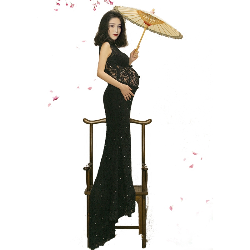 Royal Maternity pregnant women Photography Props Elegant Photo Shoot Lace Dress Costume Personal photos pregnant недорого