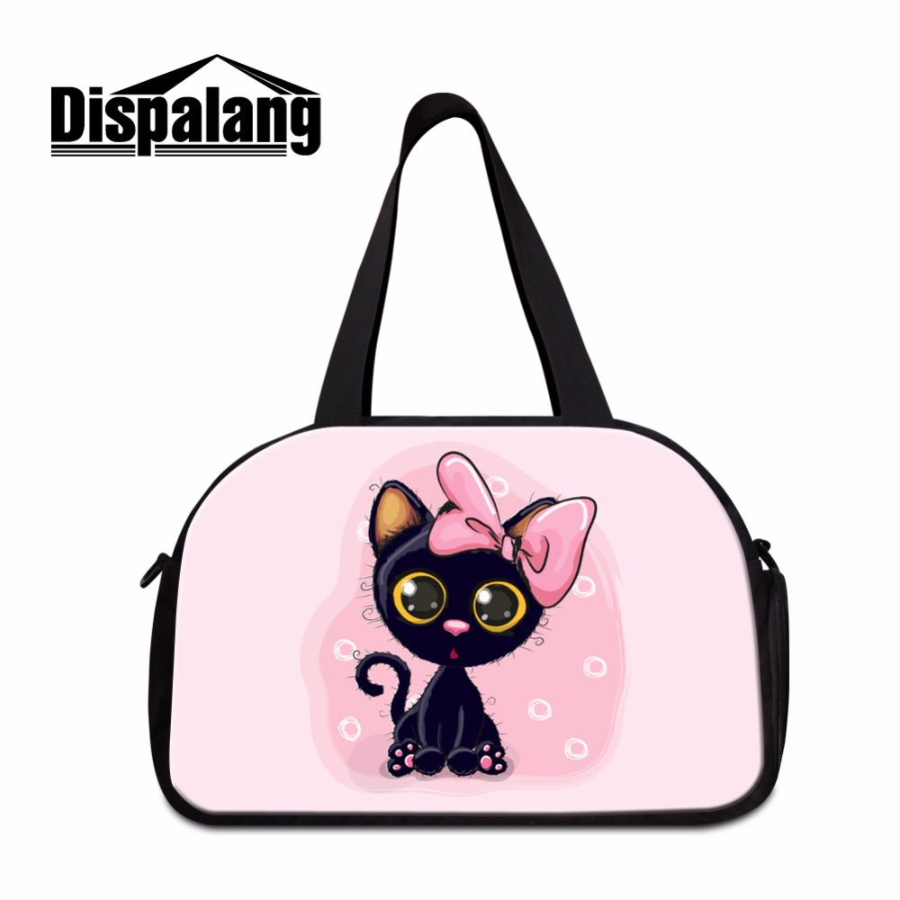 Dispalang Cartoon Travel Bag Patterns for Teen Girls Over Night Bag Large Tote Duffle Bag Cat Print Shoulder Traveling Bag Women