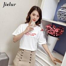 Jielur Korean Lace-up Shoulder Hollow T-shirts Women Letters Embroidered Top Female Chic Short Sleeve Loose Cotton T shirt M-2XL