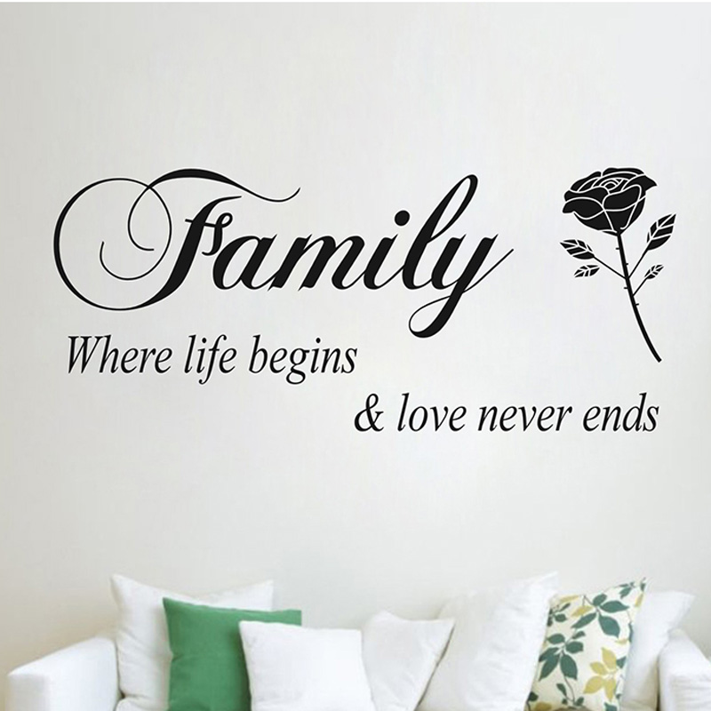DIY Family Where Life Begins Love Never Ends warm Quotes Wall Stickers home decor wall decals adesivo de parede decoracion