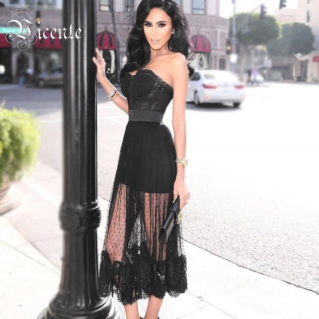 Vicente HOT Chic Lace Dot Mesh Splicing Long Dress Sexy Strapless Sleeveless Wholesale Celebrity Party Bandage Dress