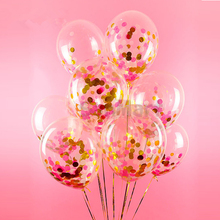 6pcs Rose and Gold Party Round Confetti Balloon Sprinkle Paper Balloon, Wedding Baby Shower Birthday Toys