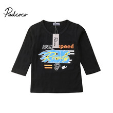 Cool Toddler Boys T-shirts Kids Baby Boys Cotton Long Sleeve Tops T-shirts Blouse 2018 New Winter Casual Black Children Clothes(China)