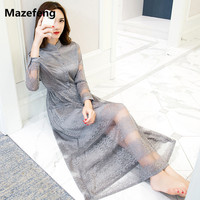 Mazefeng Women Dress 2017 Summer Ladies Hollow Out Lace Dress Solid Grey See Through Dress Long