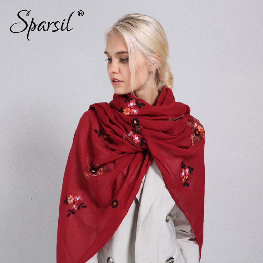 Sparsil Women Spring Autumn Thin Soft Scarves Solid Color Plant Embroidery Long Pashmina Cotton Linen Scarf Warm Comfort Shawl