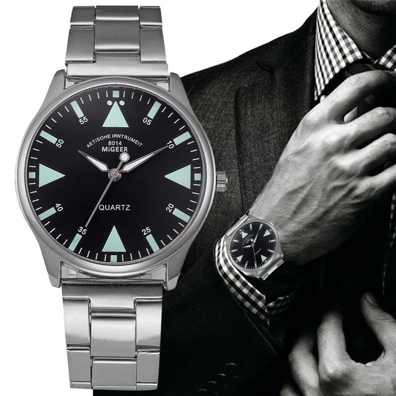 MIGEER Men Watch Business Stainless Steel Watch Band Quartz Wrist Watch Desktop Clock Relogio Masculino Gift Y 39 ...