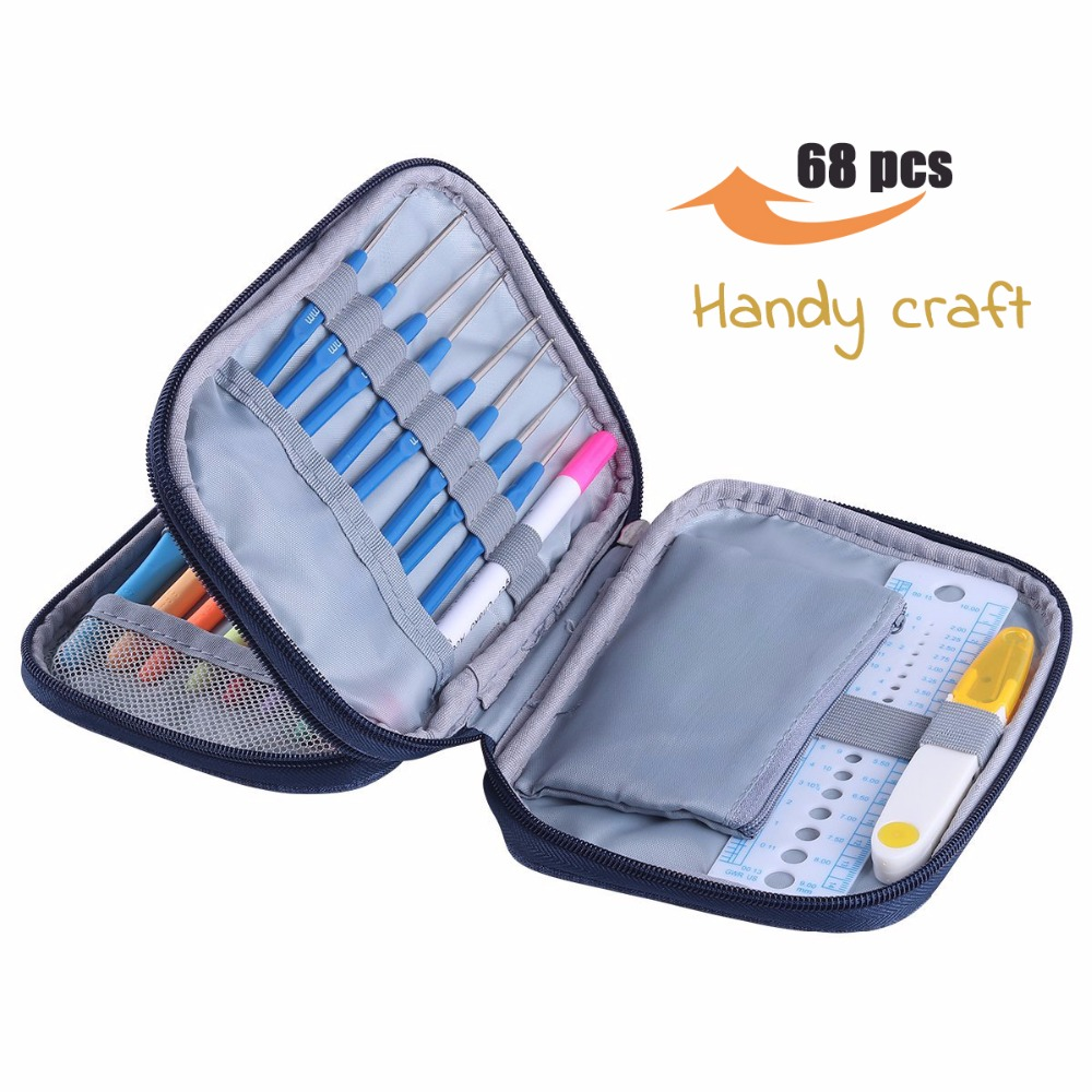 68pcs Crochet Hooks Set With Storage Bag Yarn Knitting Needles Sewing Tools Full Set Knit Scissors DIY Tool Accessorie For Wome in Sewing Needles from Home Garden