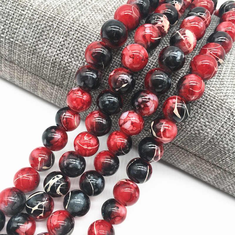 Hurtownie 4/6/8mm czarny i czerwony sałatka paciorki szklane koraliki dystansowe luzem malowane perłowe koraliki DIY tworzenie biżuterii #09