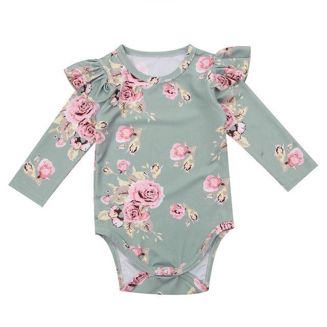 Moda 2018 Cute niemowląt noworodka dziewczynka kombinezon w kwiaty Ruffles kombinezon stroje ubrania tanie i dobre opinie Dziecko Pajacyki Dziecko dziewczyny Pełna Przycisk zadaszone cotton Pasuje prawda na wymiar weź swój normalny rozmiar