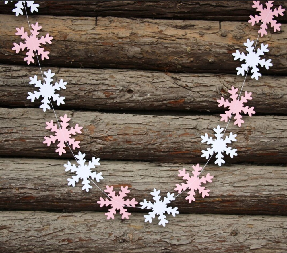 (2pieces/lot) Store Decor   Pink And White Snowflake Garland   Baby Shower  Decor   Snowflake Banner   Christmas Garland