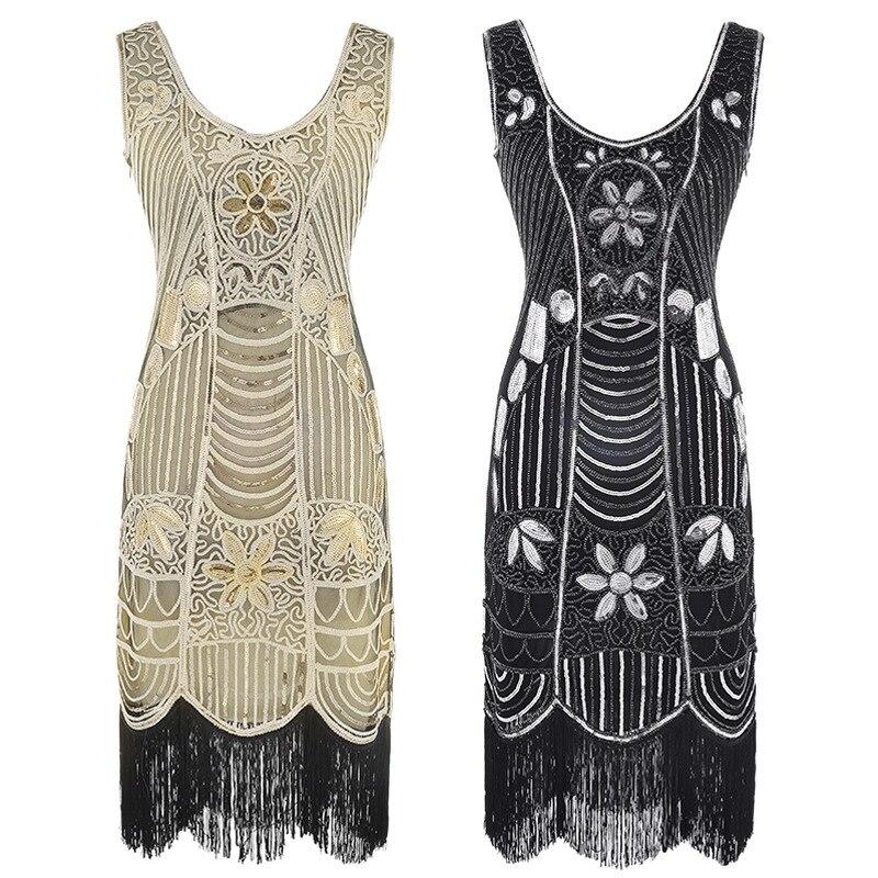 Women Party Dress Robe Femme 1920s Great Gatsby Flapper Sequin Fringe  Embroidery Beads Midi Dress Art Deco Retro Black Dresses 390682b4e3a5