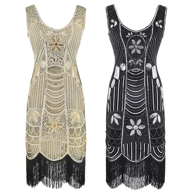 5af2e1a5cf8 Women Party Dress Robe Femme 1920s Great Gatsby Flapper Sequin Fringe  Embroidery Beads Midi Dress Art Deco Retro Black Dresses