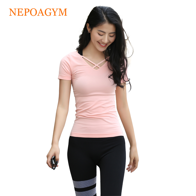 Nepoagym Women Yoga Top Sport Seamless T Shirt Gym Running Clothes Quick Dry Fitness Short Sleeve Shirt