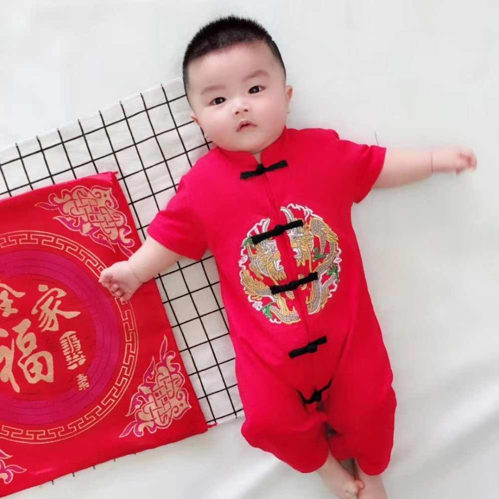 524f77fdff Newborn Baby Clothes Boy and Girl Clothes Chinese Style embroidered Baby  Romper New Year Fortune Cotton