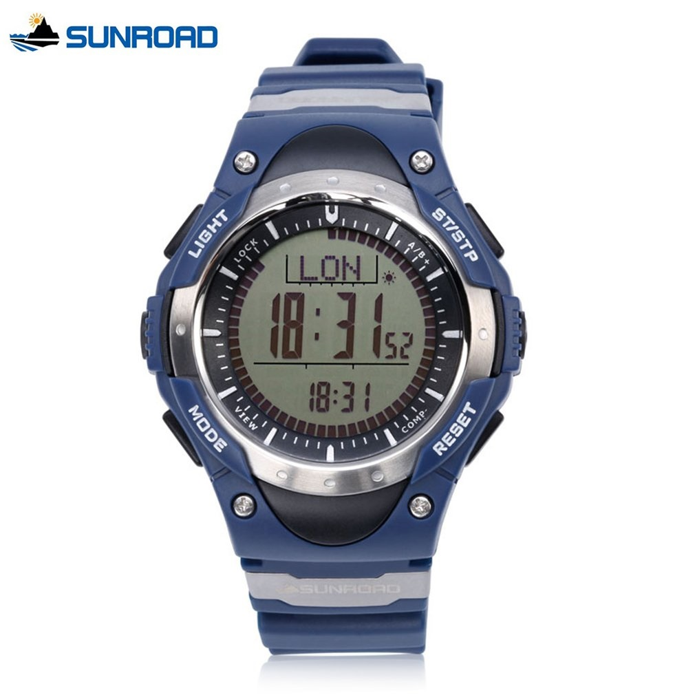 FR826B Digital Watch Mens Altimeter Multifunction Watch Blue Compass Pedometer World Time Backlight LED Wristwatches AlarmFR826B Digital Watch Mens Altimeter Multifunction Watch Blue Compass Pedometer World Time Backlight LED Wristwatches Alarm