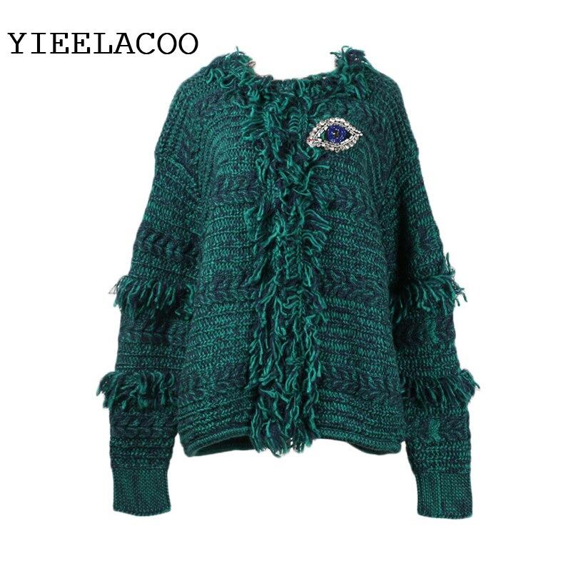 Femme tricot Cardigan Vintage paon bleu Cardigan veste 2019 printemps/automne/hiver femmes Jacquard tricot pull femmes
